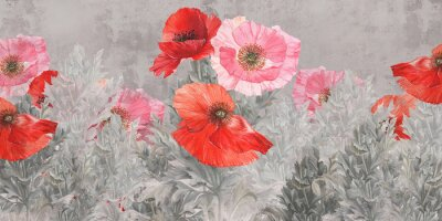 Fotomural Poppies flowers illustration. Poppies painted on the grunge wall. Beautiful design for postcard, picture, mural, wallpaper, photo wallpaper.