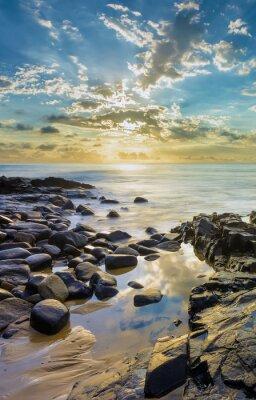 Fotomural Pôr do sol, rochoso, praia