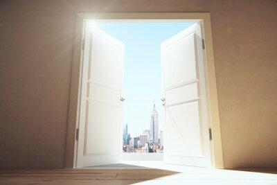 Fotomural Portas abertas, vazio, sala, megapolis, cidade, arranha-céus