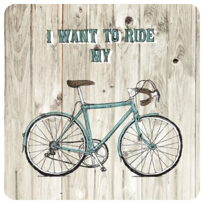 Fotomural Poster bicicleta vintage desenhado mão