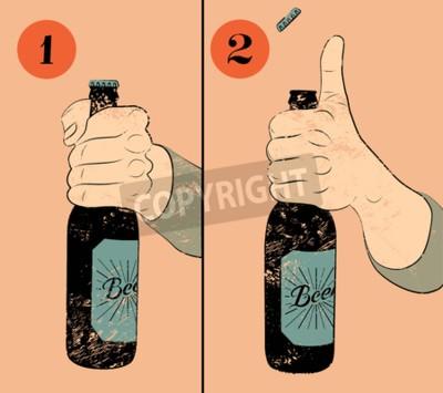 Fotomural Poster da cerveja do estilo do grunge do vintage. Instrução cómico do cartaz para abrir uma garrafa de cerveja. Mão segurar uma garrafa de cerveja. Ilustração do vetor.