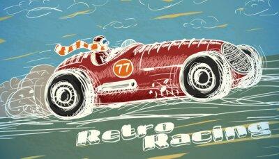 Fotomural Poster retro do carro de corridas