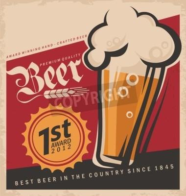 Fotomural Poster retro do vetor da cerveja