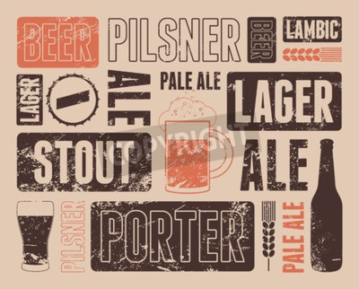 Fotomural Poster retro tipográfico da cerveja do grunge. Ilustração do vetor.