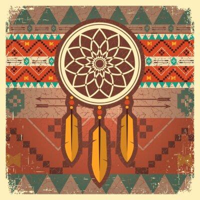 Fotomural Posters Vector dreamcatcher com o ornamento étnico