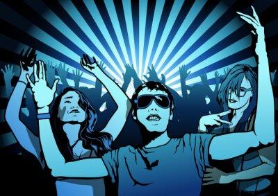 Fotomural Povos da dança na Disco Party - Illustration, Vector