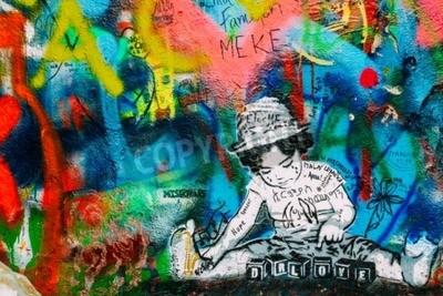 Fotomural Praga, República Checa - 10 de outubro de 2014: Lugar famoso em Praga - The John Lennon Wall. Wall é preenchido com graffiti inspirado por John Lennon e letras de músicas dos Beatles
