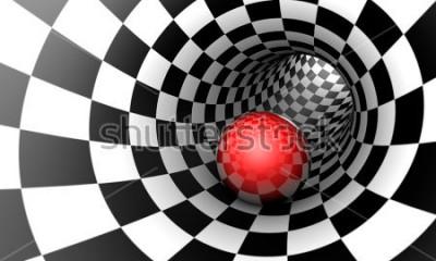 Fotomural Pré determinação. Esfera vermelha em um túnel da xadrez (imagem do conceito). O espaço e o tempo. Ilustração 3D. Disponível em alta resolução e vários tamanhos para atender às necessidades do seu proj