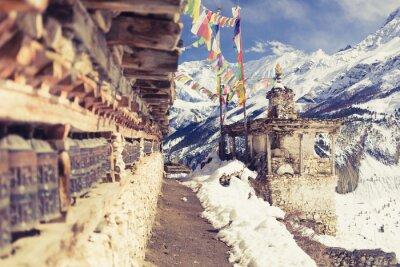 Fotomural PREÇO / INFO Adicionar à Mesa de Luz oração, rodas, alto, Himalaya, montanhas, Nepal, vila ...