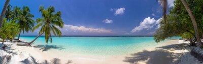 Fotomural PREÇO / INFO Adicionar à Mesa de Luz praia, panorama, Maldives, azul, céu, palma, árvores