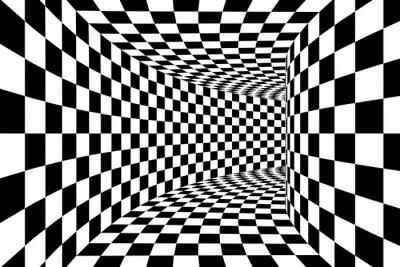 Fotomural Pretas, branca, chequered, quadrado, murado, túnel, abstratos, fundo