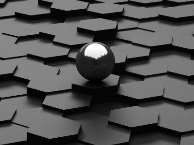 Fotomural Pretas, fundo, 3d, hexágonos, aço, esfera
