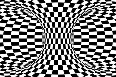 Fotomural Preto e branco Checkered torus fundo abstrato