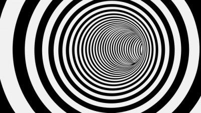 Fotomural Preto e branco, círculo, listrado, abstratos, túnel