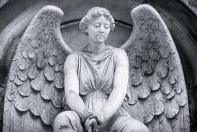 Fotomural Preto e branco de um anjo.