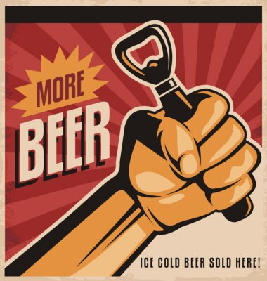 Fotomural Projeto Beer retro cartaz com a revolução punho
