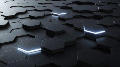 Fotomural Projeto do fundo do hexagonal técnica 3D