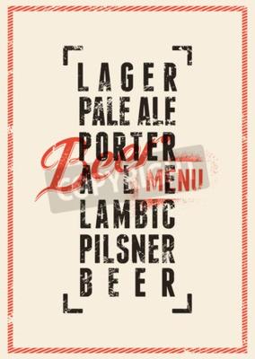 Fotomural Projeto do menu da cerveja. Poster da cerveja do estilo do grunge do vintage. Ilustração do vetor.