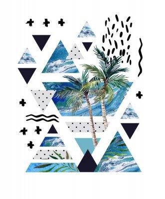 Fotomural Projeto geométrico do poster do verão abstrato.