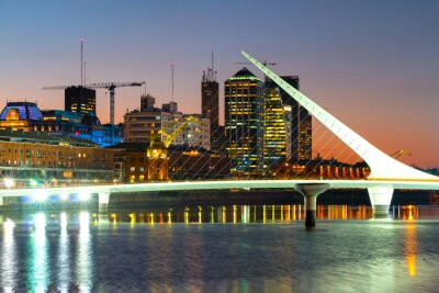 Fotomural Puerto Madero at night, harbor of Buenos Aires Argentina