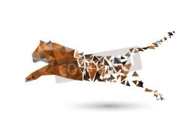 Fotomural Pulando tigre de polígonos