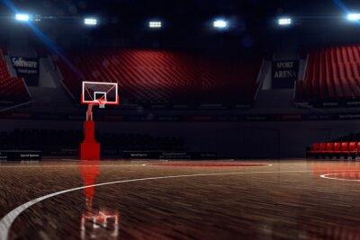 Fotomural Quadra de basquete. Arena de esportes. 3d render fundo. desfocar na distância longshot