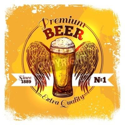 Fotomural Qualidade superior etiqueta de cerveja com esboço copo de bebida com ornamento ilustração vetorial