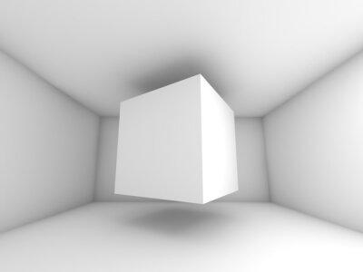 Fotomural Quarto branco Abstract interior, cubo voando