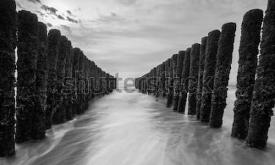 Fotomural quebra-mares no mar Báltico em cores preto e branco