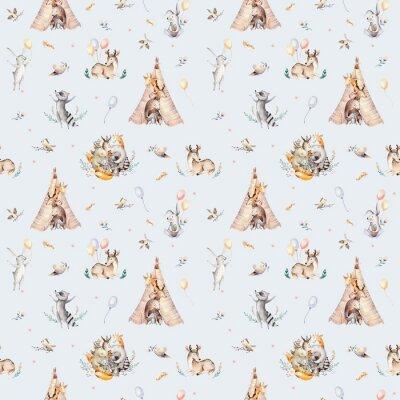 Fotomural Raccon bonito, cervo e coelho do bebê da família. girafa de berçário animal e urso isolado ilustração. Aquarela boho raccon desenho padrão sem emenda de berçário. Fundo de crianças, berçário impressão