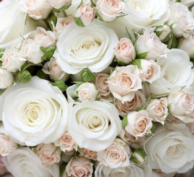 Fotomural Ramalhete do casamento das rosas brancas pinkand