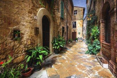 Fotomural Recantos bonitos e fendas da vila medieval italiana em