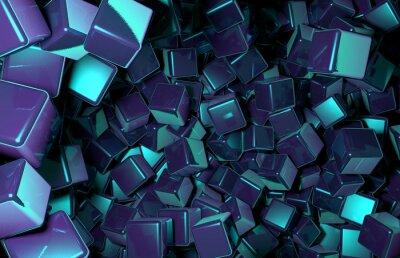 Fotomural Rendered 3D Cubes aleatoriamente distribuídos no espaço, Dark Blue Cubes