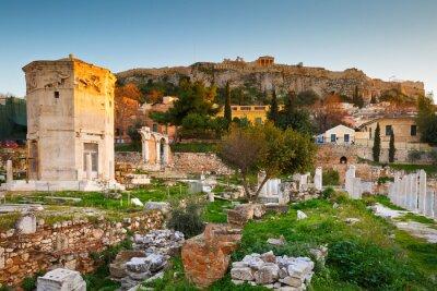 Fotomural Restos da ágora romana e da Acrópole em Atenas, na Grécia.
