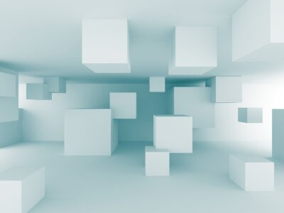 Fotomural Resumo fundo caótico Cubes Construção Projeto