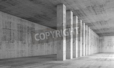 Fotomural Resumo fundo de arquitetura, interior vazio com paredes de concreto e colunas em uma linha, ilustração 3d com efeito de perspectiva