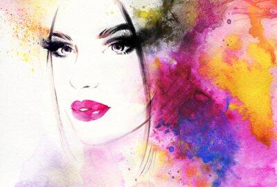 Fotomural Retrato da mulher bonita. Ilustração abstrata da aguarela da forma
