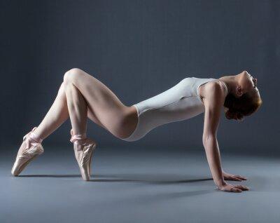 Fotomural Retrato do dançarino gracioso emocional sobre pointes