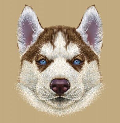 Fotomural Retrato ilustrativo do filhote de cachorro de Husky. Retrato bonito do cão bicolor vermelho de cobre novo com olhos azuis pálido.