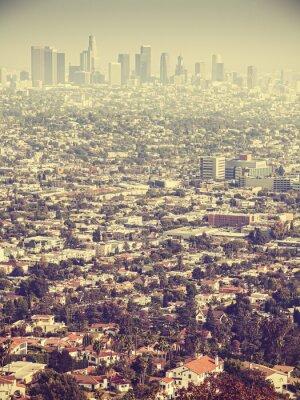 Fotomural Retro, estilizado, aéreo, vista, Los, visto, através, smog, EUA