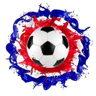 Fotomural Retro, futebol, bola, francês, bandeira, respingo