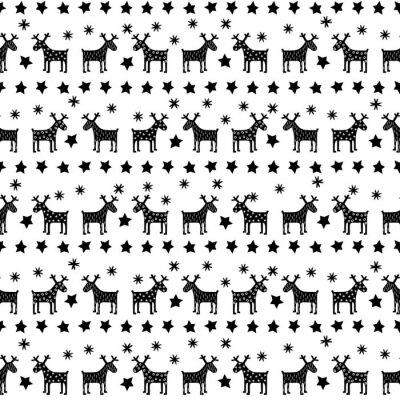 Fotomural Retro seamless padrão preto e branco do Natal - Xmas variou renas, estrelas e flocos de neve. Fundo do ano novo feliz. Projeto do vetor para férias de inverno no fundo branco.