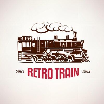 Fotomural Retro, trem, vindima, vetorial, Símbolo, emblema ...