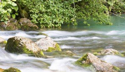 Fotomural Rio de montanha na Abcásia, paisagem. Limpe o rio flui nas montanhas de Abkhazia.