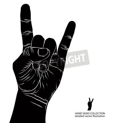 Fotomural Rocha no sinal da mão, rock n roll, hard rock, metal pesado, música, ilustração do vetor preto e branco detalhado.