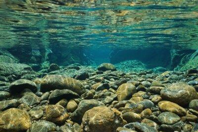 Fotomural Rochas, submarinas, riverbed, claro, freshwater, Dumbea, rio, grande, Terre, Novo, Caledonia