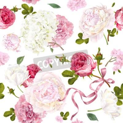 Fotomural Romantic garden flowers pattern
