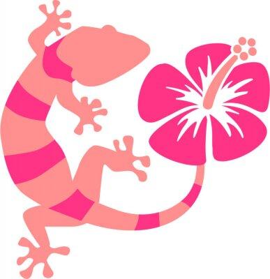 Fotomural Rosa Gecko com hibiscus