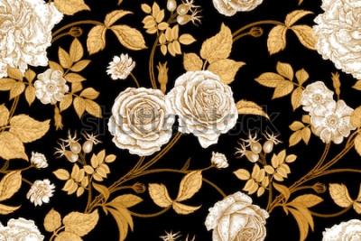 Fotomural Rosas, flores, folhas, galhos e bagas de cachorro rosa. Padrão sem emenda vintage floral. Ouro, falta e branco. Estilo oriental. Arte de ilustração vetorial. Para tecidos de design, papel, papel de pa