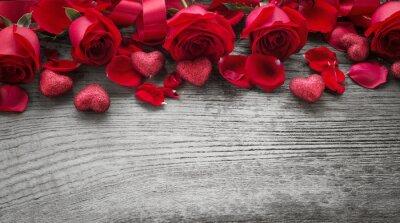 Fotomural Rosas, madeira, tábua